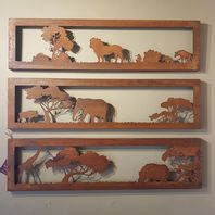 Set of 3 African Themed Wall Plaques